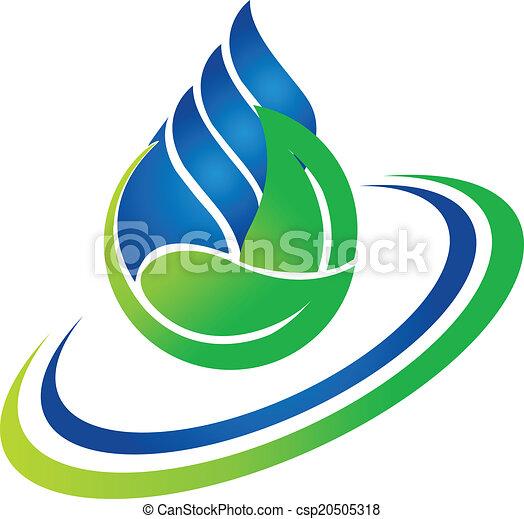 水, 緑, 低下, 葉, ロゴ - csp20505318