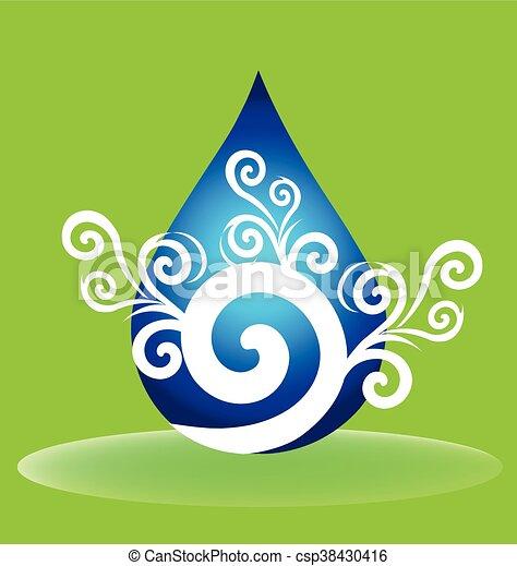 水, 花, 低下, ロゴ - csp38430416