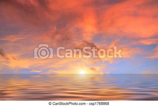 水, 雲, 日没, 赤, の上 - csp1768868