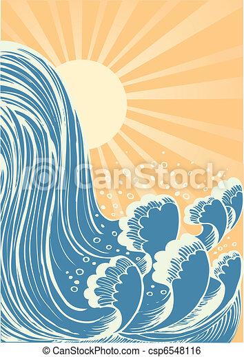 水, 青, waterfall., 背景, 太陽, 波, ベクトル - csp6548116
