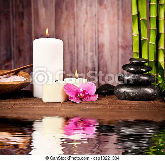 水, spa, 生活, 仍然, 反映 - csp13221304