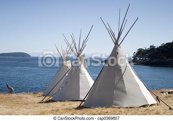 水, teepee, キャンプ - csp0369807