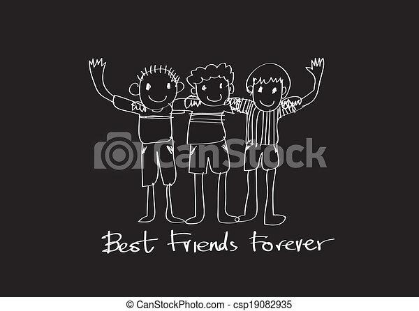 永久に, 友情, 考え, デザイン, 友人, 日, 最も良く, 幸せ - csp19082935