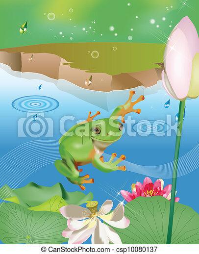 池, 跳躍, カエル - csp10080137