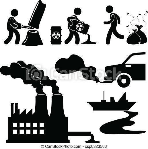 污染, 全球, 绿色, 暖和, 图标 - csp8323588