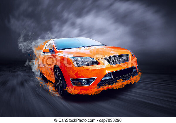 汽車, 火, 運動, 橙, 美麗 - csp7030298