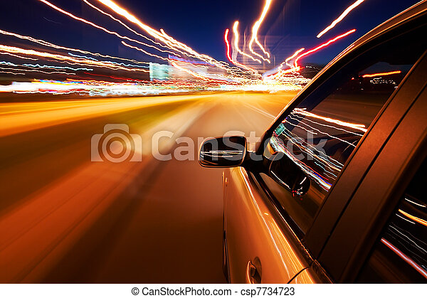 汽車, 迅速地開車 - csp7734723