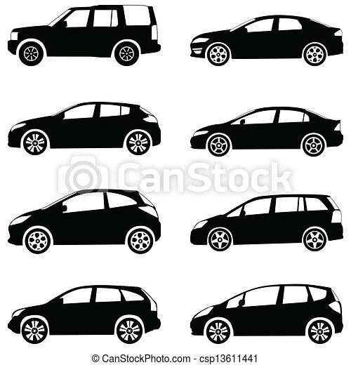 汽車, 集合, 黑色半面畫像 - csp13611441