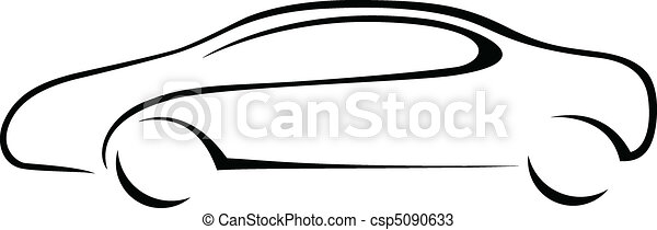 汽車, 黑色半面畫像, emblem. - csp5090633