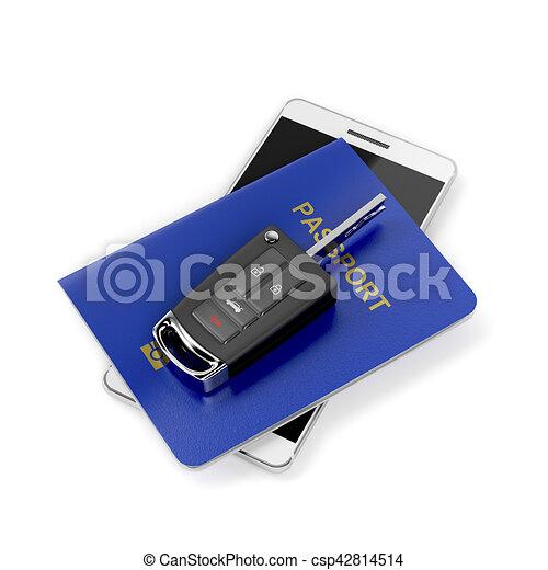汽車, smartphone, 護照, 鑰匙 - csp42814514