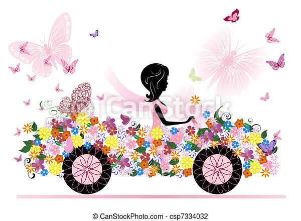 汽车, 女孩, 花, 浪漫 - csp7334032