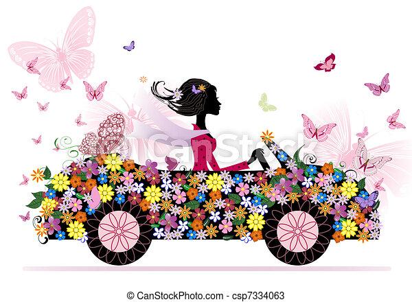 汽车, 女孩, 花, 浪漫 - csp7334063