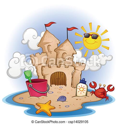 沙子海滩, 城堡, 卡通漫画 - csp14029105