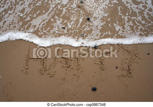 沙子, 寫, -, 愉快 - csp0867348