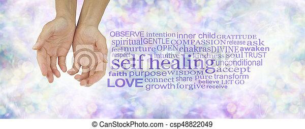 治癒, 自己, 単語, 雲 - csp48822049