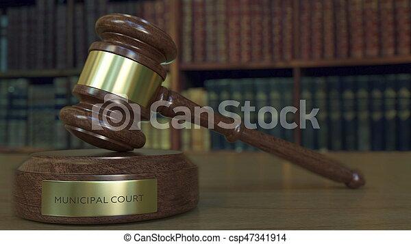 法廷, 市の, レンダリング, 小槌, 裁判官, inscription., ブロック, 3d - csp47341914