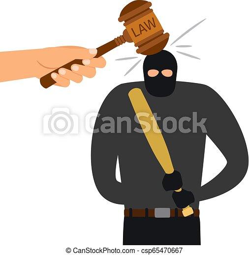法律, character., 法的, 犯罪者, ハンマー, 罰 - csp65470667