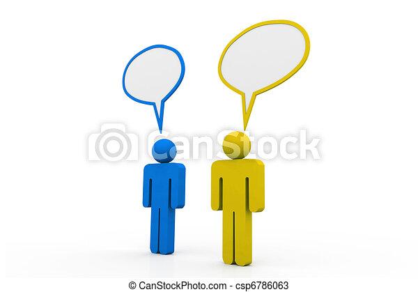泡, スピーチ, 2, 話, 人々 - csp6786063