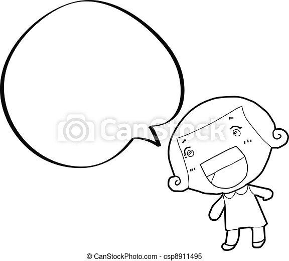 泡, 女の子, スピーチ, 漫画 - csp8911495