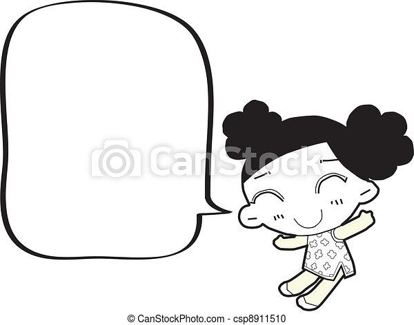 泡, 女の子, スピーチ, 漫画 - csp8911510