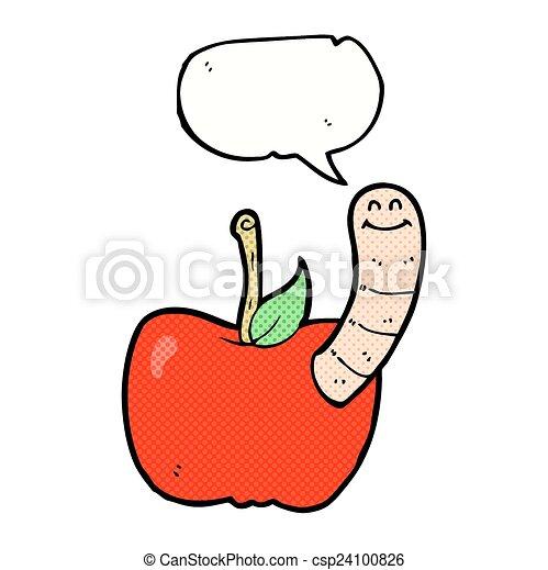 泡, 漫画, スピーチ, アップル, みみず - csp24100826