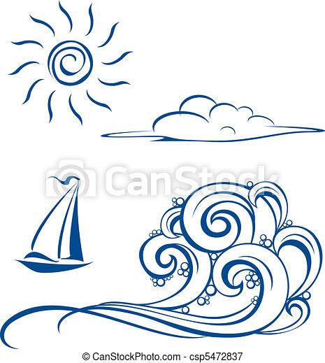 波, 雲, ボート, 太陽 - csp5472837