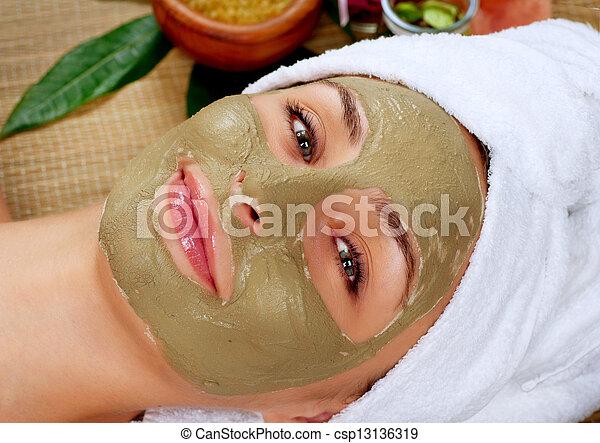 泥, 大広間, 女, mask., エステ - csp13136319