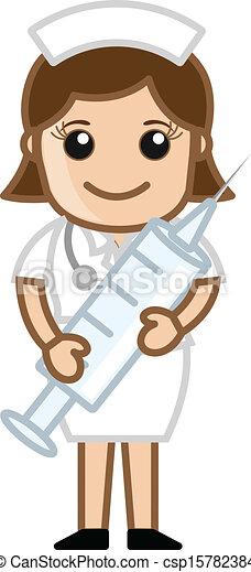 注射器, 漂亮, 護士, 藏品 - csp15782384