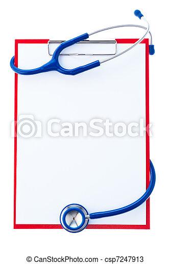注釋, 剪貼板, 聽診器 - csp7247913