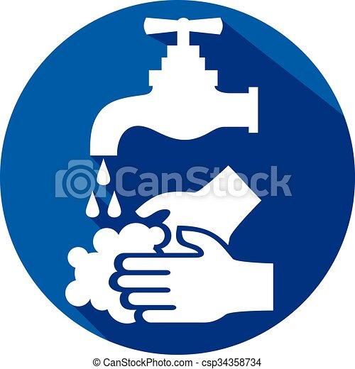 洗いなさい, アイコン, あなたの, 平ら, 手, どうか - csp34358734