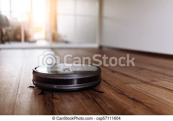 洗剤, 精選する, technology., laminate, 真空, 床, 焦点を合わせなさい。, 木, 清掃, ロボティック, 痛みなさい - csp57111604