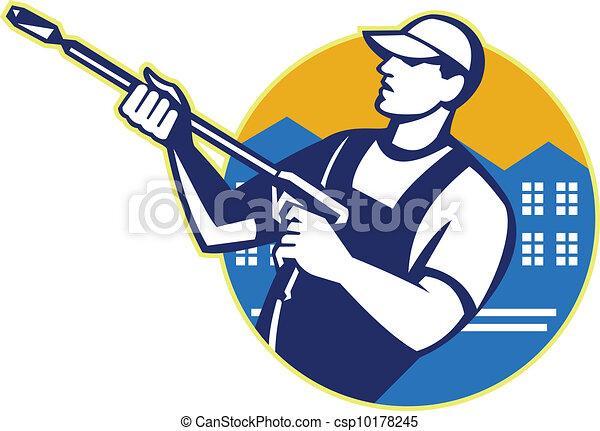 洗浄, 力, 発破工, 労働者, 水圧 - csp10178245
