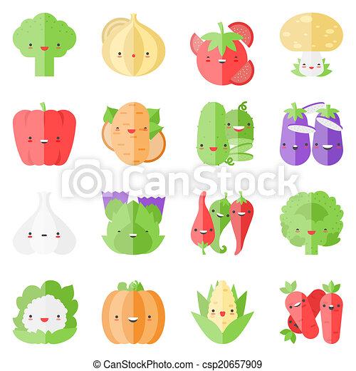 流行 かわいい 野菜 平ら アイコン Kawaii かわいい セット