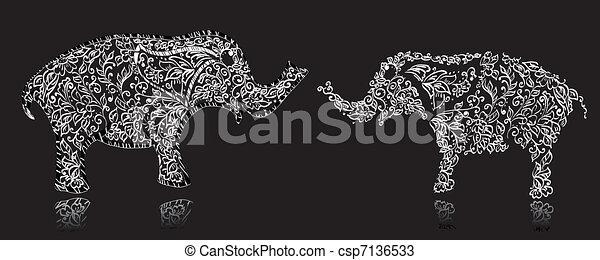 流行, デザイン, 象 - csp7136533