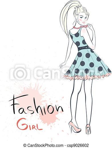 流行, ファッション, 美しさ, girl. - csp9026602
