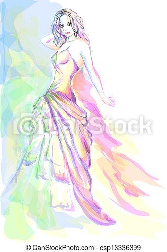 流行, 女, 若い, 肖像画 - csp13336399