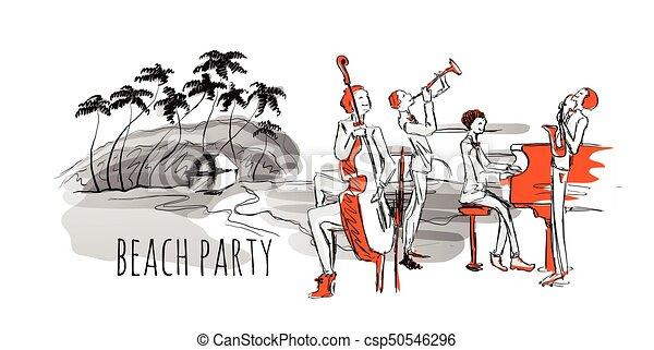 浜。, コンサート, 木。, ジャズ, 海岸, バンド, hand-drawn, ベクトル, やし, 海, illustration. - csp50546296