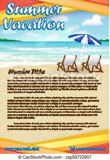 浜, ポスター, 夏, 砂, 旗, 休暇 - csp59723907