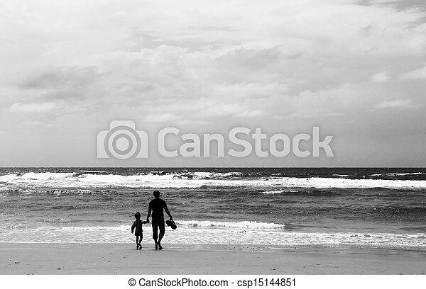 浜, 春, 息子, 父の 時間 - csp15144851