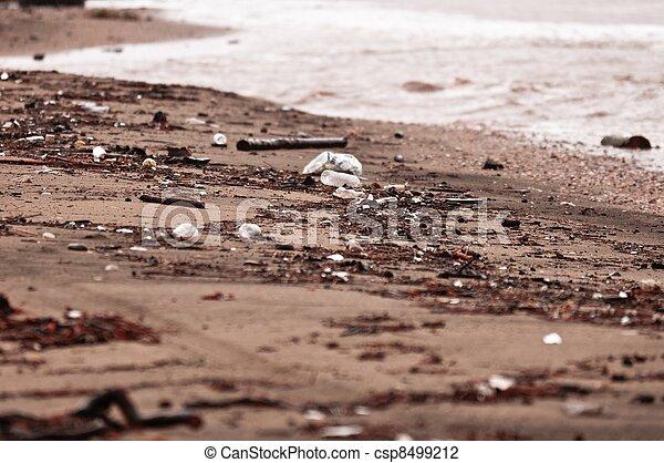 浜, 汚い, 雨, 汚される - csp8499212