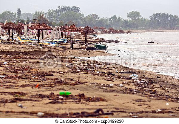 浜, 汚い, 雨, 汚される - csp8499230