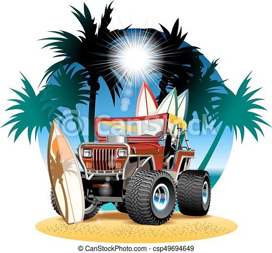 浜, 自動車, ベクトル, 4x4, 漫画 - csp49694649