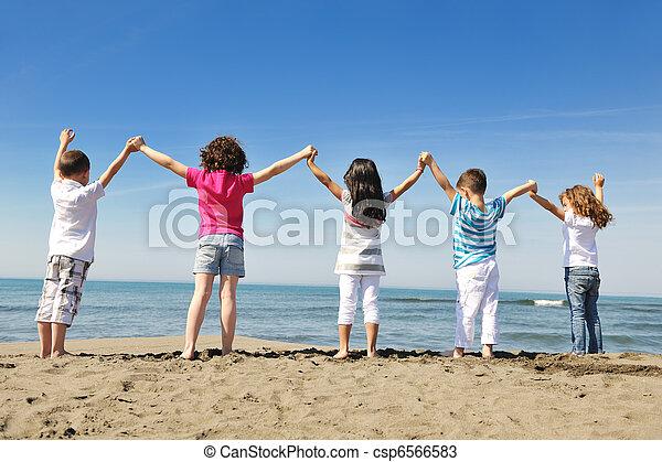 浜, 遊び, 幸せ, 子供, グループ - csp6566583