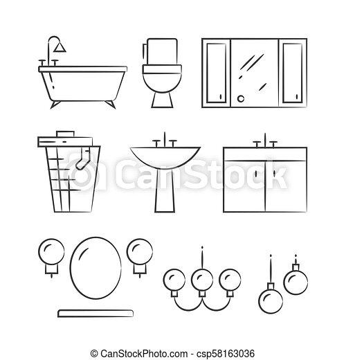 浴室, アイコン, 手, 照明, 引かれる, 線, 家具 - csp58163036