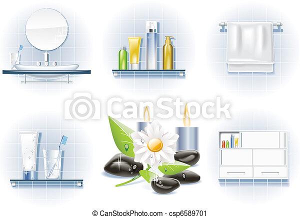浴室, ベクトル, セット, アイコン - csp6589701
