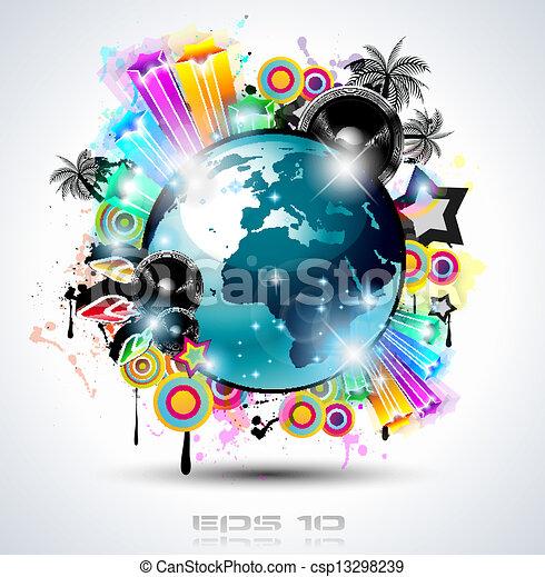 海報, 背景, elements., 俱樂部, 迪斯科, 國際, 跳舞, 理想, 設計, 做廣告, 簽, 飛行物, 音樂, 事件, panels. - csp13298239
