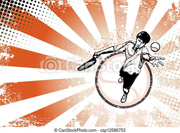 海报, 网球, retro, 背景 - csp12586753