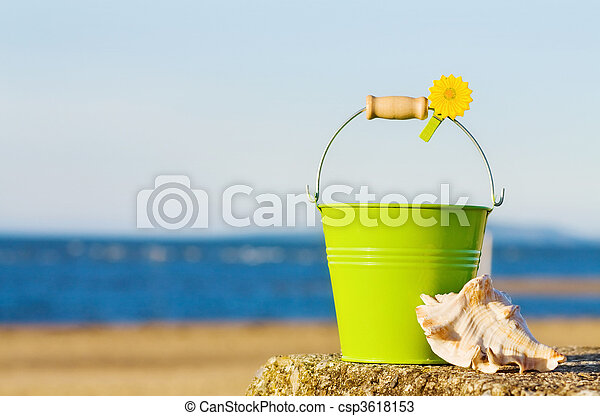 海灘。, 夏天嬉戲, 美麗 - csp3618153