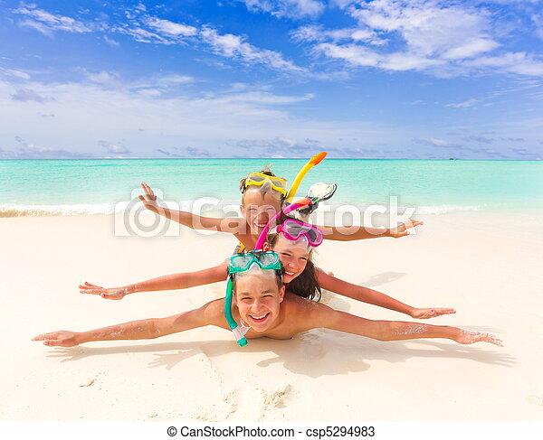 海灘, 孩子玩 - csp5294983