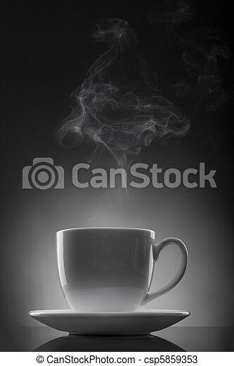 液体, カップ, 暑い, 黒, 白, 蒸気 - csp5859353